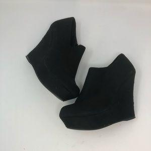 Mossimo Black Velvet Wedge Shoes